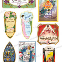 Printable Perfume Cologne Labels Toilet Waters Colorful Design Digital Collage Sheet Clip Art Downloads Purple Green Blue