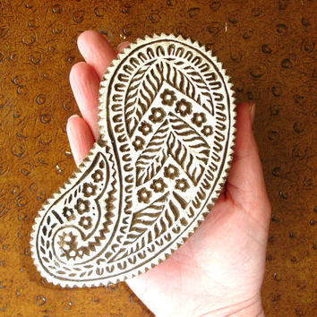 Paisley Stamp: Hand Carved Wood Stamp, Flower Clay Ceramics Textile Stamp, Wooden Indian Printing Block, from India, Bohemian Decor, Art