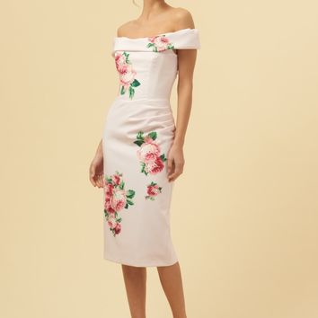 The Pretty Dress Company Thea Lamour Florall Motif Pencil Dress