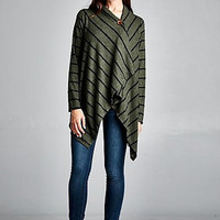 Striped Button Wrap in Olive