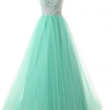 ACEFAST INC Lace Romantic Chiffon Evening Gowns Appliques Long Prom Dress