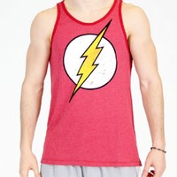 The Flash Distressed Vintage Lightning Bolt Logo Adult Baked Apple Red Tank Top