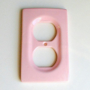 Vintage Pink Outlet Cover Ceramic Mid Century Hardware Housewares