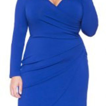 Blue V-Neck Long Sleeve Asymmetrical Plus Size Dress