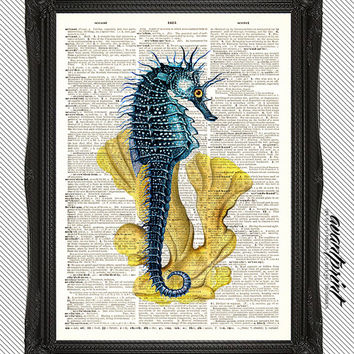 Brown Eyed Sea Horse Ocean Collage Print on an Unframed Upcycled Bookpage