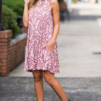 Never Too Busy Dress, Blush-Mauve