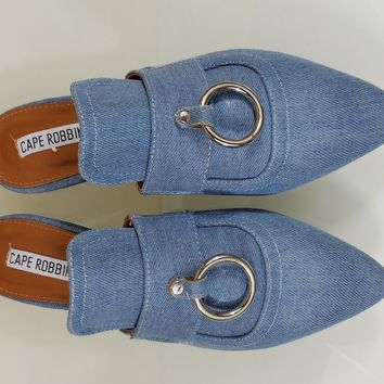 CR Pointy Toe Denim Flats Mules Clog Bull Ring Shoe Slippers