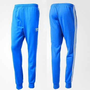 Adidas Fashion Women MenLoose Exercise Sport Pants Trousers Boy Girl Sweatpants Blue B