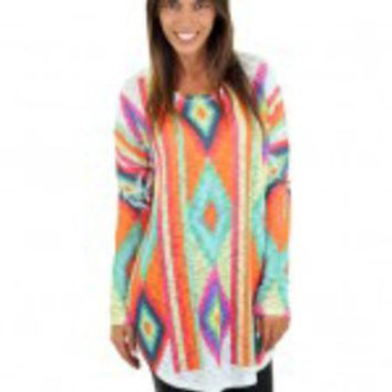 Colorful Geometric Print Top