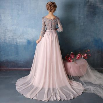 Pink Chiffon Evening Dresses Gray Lace Appliqued Three Quarter Sleeves Prom Long Formal Gown