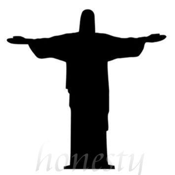 Jesus Statue Wall Home Glass Window Door Car Sticker Laptop Auto Truck Black Vinyl Decal Sticker Decor Gift 11.5cmX11.6cm