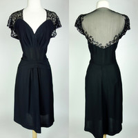 1940s style black dress, sheer mesh rayon sequin fit and flare cocktail formal short sleeve pleated dress, Large, 10