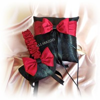 Wedding pillow and basket black damask and apple red accessories