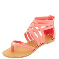 STRAPPY ANKLE CUFF THONG SANDALS