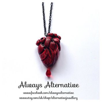 Anatomical Heart Pendants Zombie Horror Gore