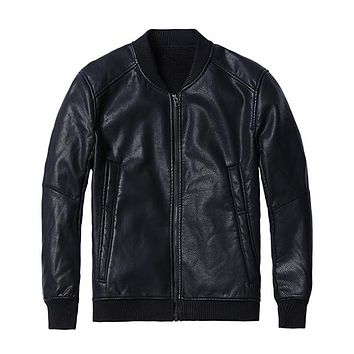 SIMWOOD Winter New Bomber Leather Jacket Men Fashion Warm Fleece Casual