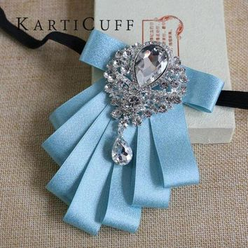 High Quality Sky Blue Bow Tie Gem Jewelry Luxury Series Han Edition British Style Men Women Suit Shirt Dress Jewelry