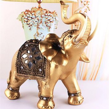 Golden Resin Lucky Feng Shui Elephant Statue - 3 Size Options
