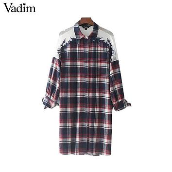 Vadim lace patchwork plaid oversized long shirts floral embroidery bow tie sleeve split loose vintage blouses tops blusas LT2276