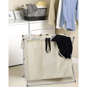 Folding 3-Bag Folding Laundry Sorter Hamper Organizer Washing Clothes Basket Storage Beige Dirty Clothes Rack