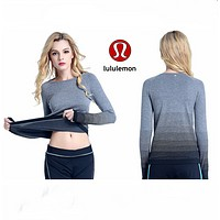 """lululemon""Women's long sleeves Lulu lemon sports fitness leisure running Yoga breathable Sweatshirt"