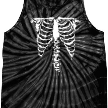 Halloween Skeleton Tie Dye Tank Top