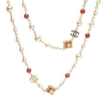 PEAPYV2 Chanel Woman Fashion Logo Pearls Necklace For Best Gift