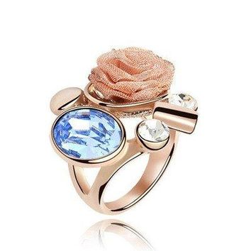 Quality Women's Gold Color Rose Flower Design Made With Swarovski Elements Baby Blue Crystal Ring for Valentine's Day Gift 4666