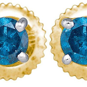 10kt Yellow Gold Womens Round Blue Colored Diamond Solitaire Stud Earrings 1/4 Cttw