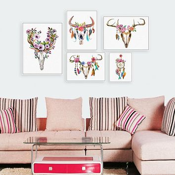 Watercolor Vintage Animal Head Deer Skull Feather A4 Art Poster Print Dream Catcher Wall Picture Canvas Paintin Nordic Home Deco