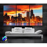 "LARGE 30""x 60"" 3 Panels Art Canvas Print Beautiful Chicago skyline Sunset light Wall Home"