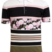 Givenchy Floral Striped Cotton Polo Shirt