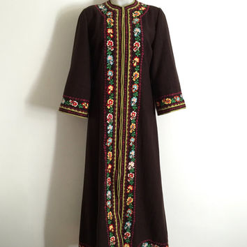 Vintage 1970s chocolate brown wool zip front ethnic kaftan with embroidered and appliqué borders