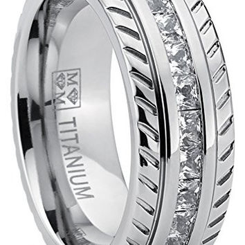 Men's Titanium Wedding Band, Engagement Eternity ring, Chevron design W/ Princess Cut Cubic Zirconia CZ | FREE ENGRAVING