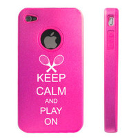 Hot Pink Apple iPhone 4 4S 4G Aluminum hard case D2304 Keep Calm and Play On Tennis