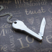 Silver Pocket Knife Necklace - Enchanted Secret Key - Jewelry By TheEnchantedLocket - UNISEX Groom Wedding Birthday Gift