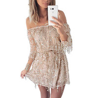 Sexy off shoulder sequin tassel summer Long sleeve dress 2016 beach party short dress Women backless vintage dress vestidos