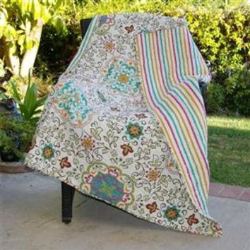 100% Cotton Throw Quilt Blanket with Bohemian Style Floral Pattern
