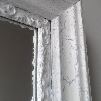 Large White Mirror in Weathered White Antique Wood Gesso Frame 24 by 20 Inches