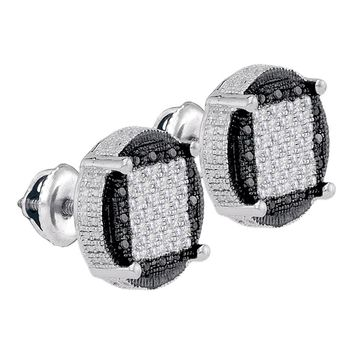 Sterling Silver Mens Round Black Color Enhanced Diamond Circle Cluster Earrings  Cttw