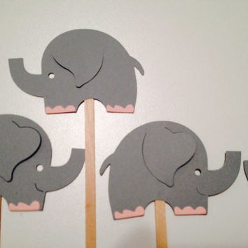 Pack of 8 jumbo elephant cupcake or cake toppers.  Grey with your choice of toe color.
