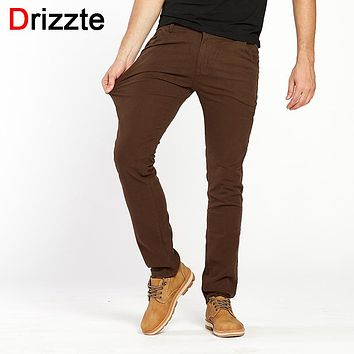 Drizzte Mens Slim Cotton Stretch Soft Chino Pants Casual Dress Trouser Coffee Brown Black Size 32 33 34 36 38