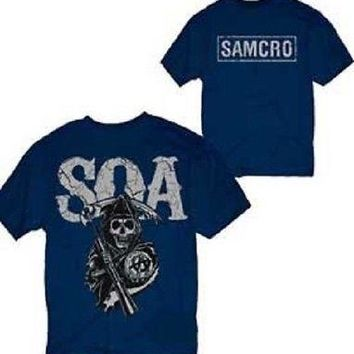 Sons of Anarchy Cracked SAMCRO Reaper Logo LIC Adult T-Shirt - Blue - 3XL