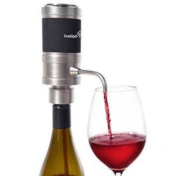 Ivation Electric Wine Aerator and Dispenser - Easy Touch Operation - Battery Operated - Decanter for Red and White Wine - FDA Approved - Gift Box