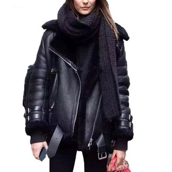 2017 autumn and winter women coat casual belted leather jacket fur loose casual coat punk outwear