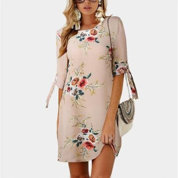Women Sexy Dresses Summer Fifth Sleeve Floral Printed Dress O-neck Lace Chiffon Dress Lady One Piece Female Clothing