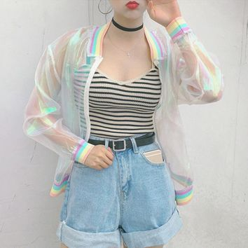Women Harajuku Summer Colorful Color Rainbow Collar Loose Baseball Sunscreen Jacket Female Cute Japanese Kawaii Bomber Coat