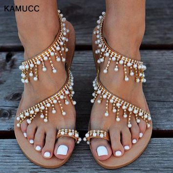 d5165feb 2019 Vintage Boho Sandals Women Leather Beading Flat Sandals