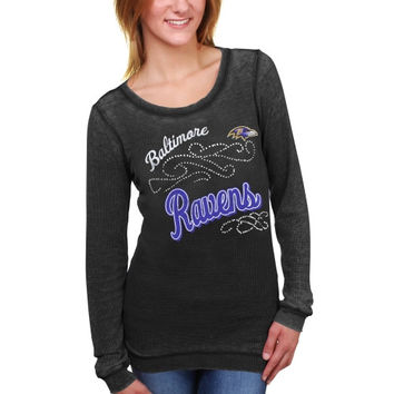 Baltimore Ravens Touch by Alyssa Milano Women's Blitz Burnout Thermal Long Sleeve Tri-Blend T-Shirt – Black