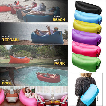 Big Size Beach Portable Outdoor Inflatable Bone Furniture Sofa Hammock Sleeping Camping Air Bed Nylon Lazy Air Sofa Bag SP001